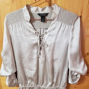 White House Black Market Silk Lace Up Blouse